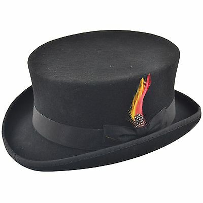 Deadman Short Topper Wedding Ascot Event 100% Wool Felt Top Hat with Feather