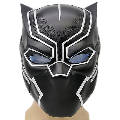 Black Panther Helmet Mask Captain Full Head With LED America COSplay Civil War