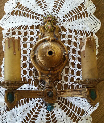Antique Double Light Electric Wall Sconce Ornate Metal Gold Gilt