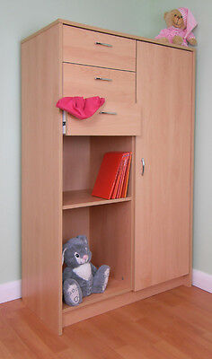 Smaller Wardrobe Suits Nursery Or Childrens Room Beech (R198B)