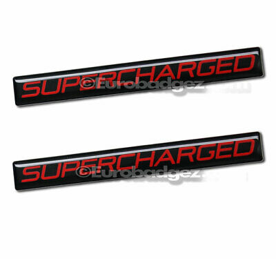 1 NEW Embossed Aluminum SUPERCHARGED Badge Emblem SUPERCHARGED Black Red