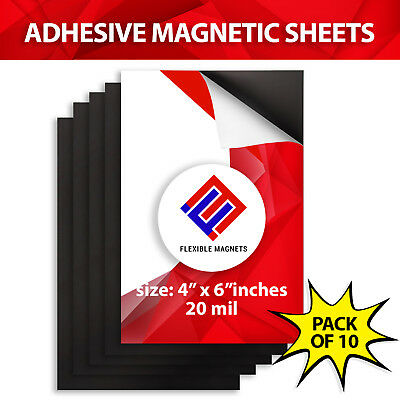 10 Self Adhesive Flexible Magnetic Sheets 4 x 6 inches - FREE SHIPPING