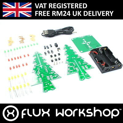 LED Christmas Tree DIY Kit XMAS Unsoldered Practice Gift Flux Workshop