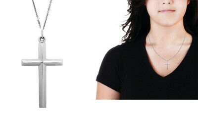 Sterling Silver Shiny Cross Charm 27x17mm Necklace 18/""