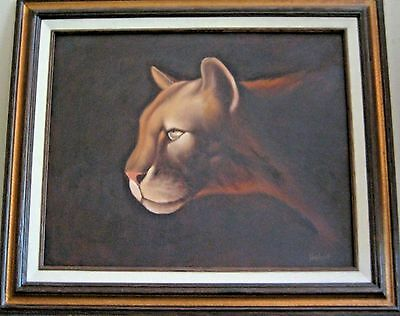 Signed Helene Framed oil painting on Canvas Realistic Panther