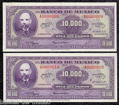 B-D-M Mexico Pair 10000 pesos Matías Romero 1978 Pick 72 Low serial SC- aUNC