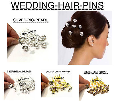 10 Bridesmaid Wedding Bridal Crystal Flower Hair Pins Clips Accessories hair pin