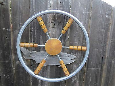 AUTHENTIC 18 inch STAINLESS STEEL & WOOD BOAT SHIPS WHEEL SAILBOAT DECOR (#1416)