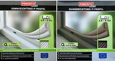 Rubber seal Window Sealing Door Sealant P Profile Powerfix APTK brown white