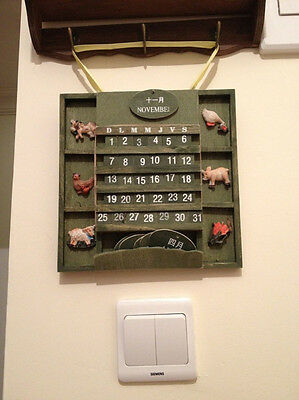 DIY Hand Crafted Painted Wooden Rustic Perpetual Calendar Tiles Cross Stitch