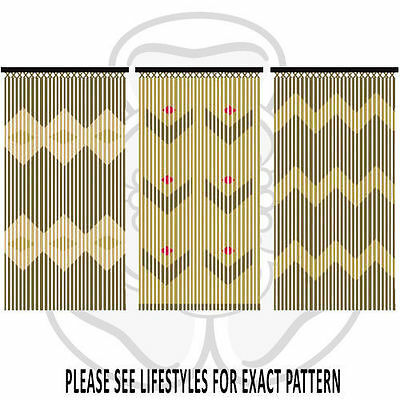 JVL Wooden Bamboo Beaded Patterned Fly Screen Door Curtain 90 x 180cm