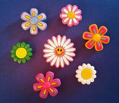New 7 Pc Happy Face Flowers Bouquet Jibbitz Shoe Charms Cake Topper Party Favors