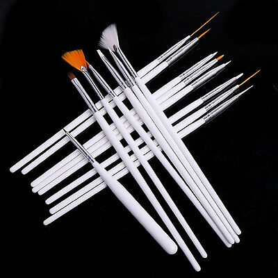 15pcs Pink Acrylic UV Gel Nail art Design Pen Drawing Painting Brush set