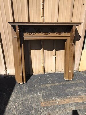 Cm 67 Antique Carved Wreath Oak Fireplace Mantle