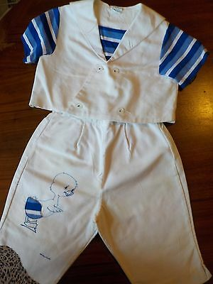 Hand made baby Sailor Suit blue ducky theme suspender pant and double breast jkt