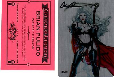 Lady Death Metallicard DARK QUEEN 85/99 signed by Brian Pulido COA FREE UK POST