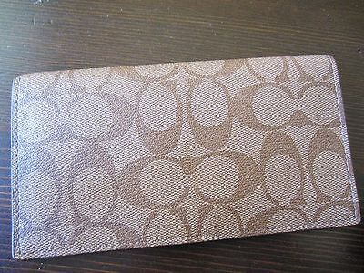 AUTH NEW COACH signature pvc leather Checkbook Cover Holder case khaki/doe
