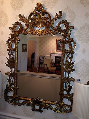 Gold Gilt Mirror BY PALLADIO, MADE IN ITALY hand carved wood ROCOCO STYLE c.1967