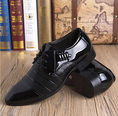 Men's Dress Formal Loafers Patent Leather Pointed Toe Work Slip On Smart Shoes