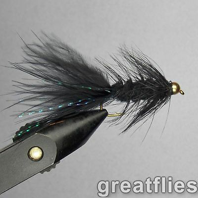 1 dozen (12) - Woolly Bugger - BLACK - Bead Head