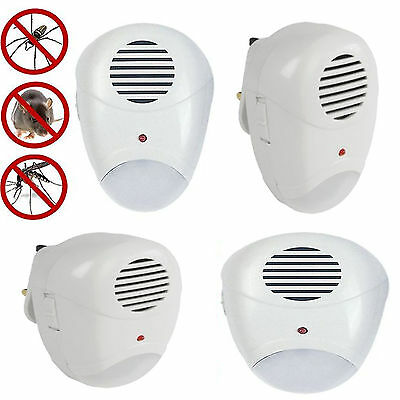 4 PK Ultra Sonic Plug In Mice Mouse Rodent Rat Spider Ant Repeller Pest Control