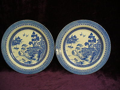Rare Antique 18C Wedgwood blue white transfer ware blue willow plates