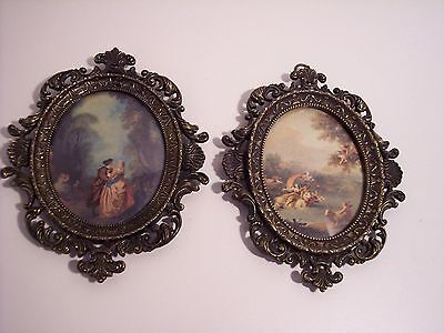 Set of 2 Vintage Metal Italian Frame Bubble Glass Victorian Scene