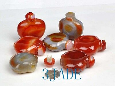 Wholesale 7 Hand Carved Carnelian / Red Agate Snuff Bottles