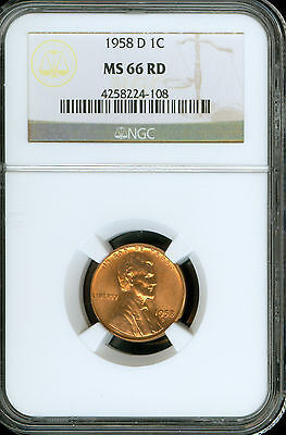 1958-D Lincoln Cent Grade by NGC RD MS66 ..