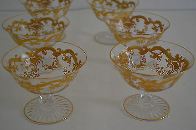 Antique St Louis Crystal Massenet Pattern Gold Encrusted Sherbet Glasses Set Of6