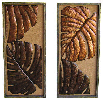Tropical Leaves Wall Art Hanging Sculpture Large PAIR