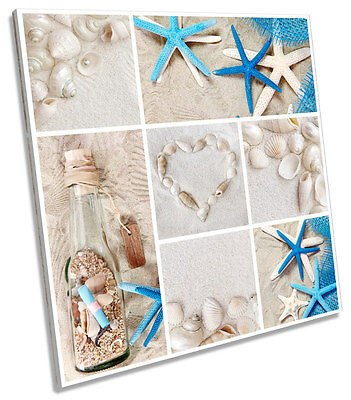 Beach Sand Collage Heart SQUARE CANVAS WALL ART Picture Print
