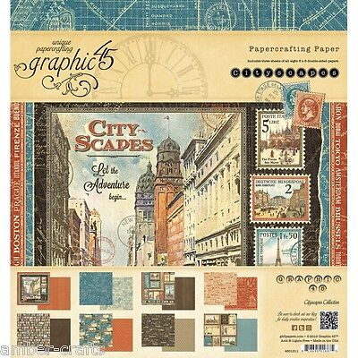 Graphic 45 - Cityscapes - Choose from Paper Pads/Ephemera Cards/Chipboard