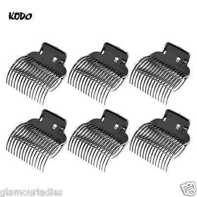 6 x Black Large Hair Clamps for Kodo Lock and Roll Hair Brushes, Roller Clips