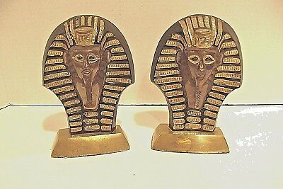 """Vintage Brass Cloisionne Egyptian King Tut Bookends 6 1/4"""" x 4 1/2"""""""