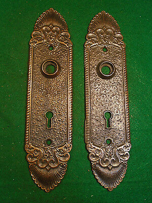 Pair Vintage Cast Steel Victorian Door Backplates - Beautiful     (5359)