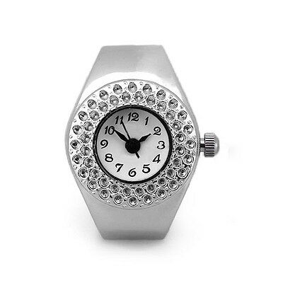 Women Silver Alloy Quartz Movement Pocket Finger Ring Watch ED
