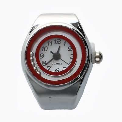 "Silver Tone Quartz Pocket Finger Ring Round Watch 0.79"" HOT ED"
