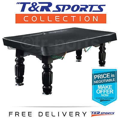 8FT Black Heavy Duty Quality Fitted Pool Snooker Vinyl Table Cover Free Delivery