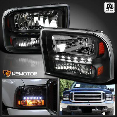 1999-2004 Ford F250 F350 Superduty Excursion 1PC Black LED Headlights Left+Right