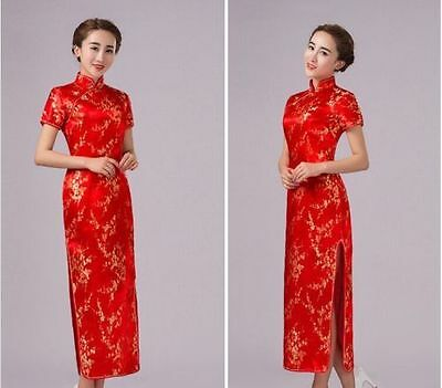 New Red Vintage Chinese Women's Long Qipao Cheongsam Wedding Evening Bride dress