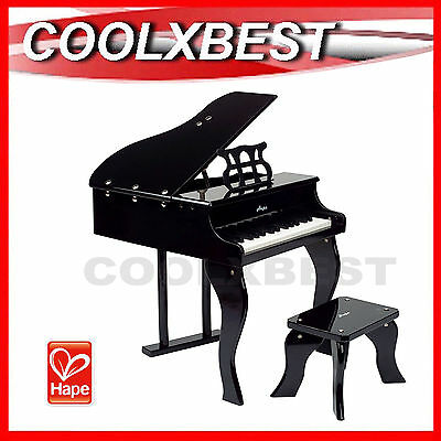FREE DELIVERY - HAPE E0320 HAPPY GRAND PIANO BLACK w STOOL 30 KEYS MUSICAL TOY