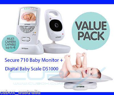 """Oricom Secure 710 2.4"""" Wireless Video 2.4GHZ Baby Monitor + Digital Scale DS1000"""