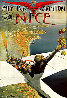 Nice France French Europe European Vintage Travel Aviation Art Poster A4