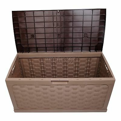 Starplast Garden Rattan Style Plastic Storage Chest Shed Box Sit-On Lid Mocha