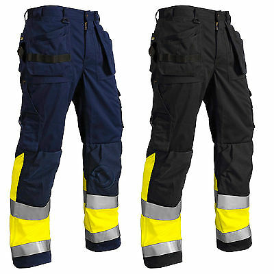 Blaklader Hi Vis Knee Pad Work Trousers with Nail Pockets (PolyCotton)-15291860