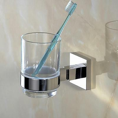 Bathroom Single Glass Tumbler with Holder Polished Finish SUS304 Stainless Steel