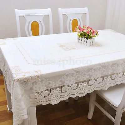 Rectangular Lace Floral Tablecloth Dining Table Cloth Cover Home Kitchen DIY