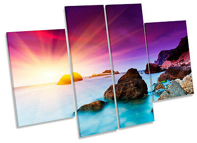 Sunset Seascape Beach Scene CANVAS WALL ART MULTI Panel Picture Print