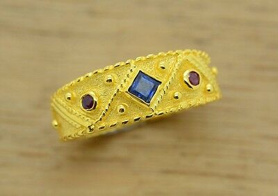 Sapphire Ruby Ring, Etruscan Ring, Sterling Silver, 22K Gold Plated, Byzantine